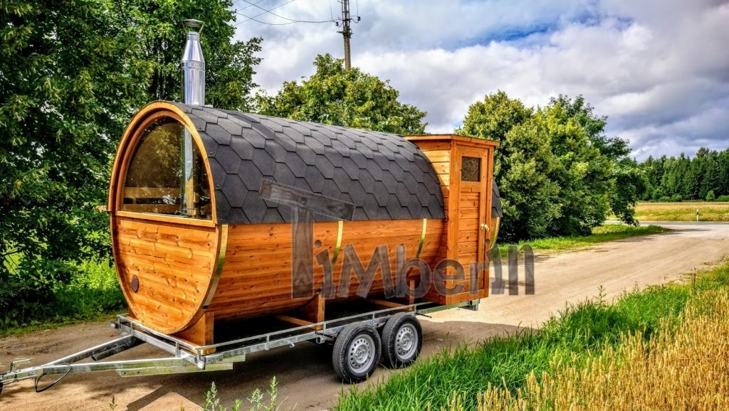 Mobile outdoor barrel sauna with half panoramic window on the trailer (3)