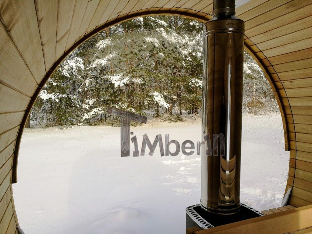 Outdoor barrel sauna with full panoramic window in winter (3)
