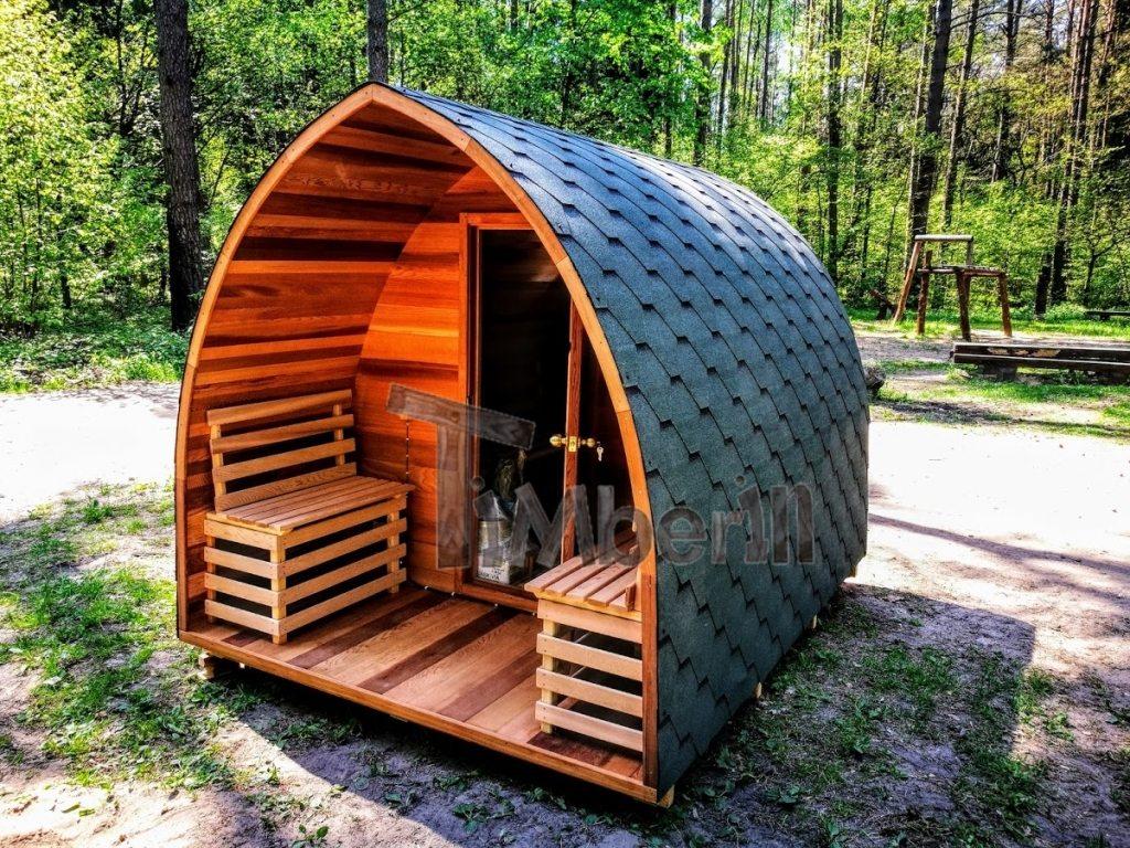 Outdoor sauna iglu design red cedar (1)