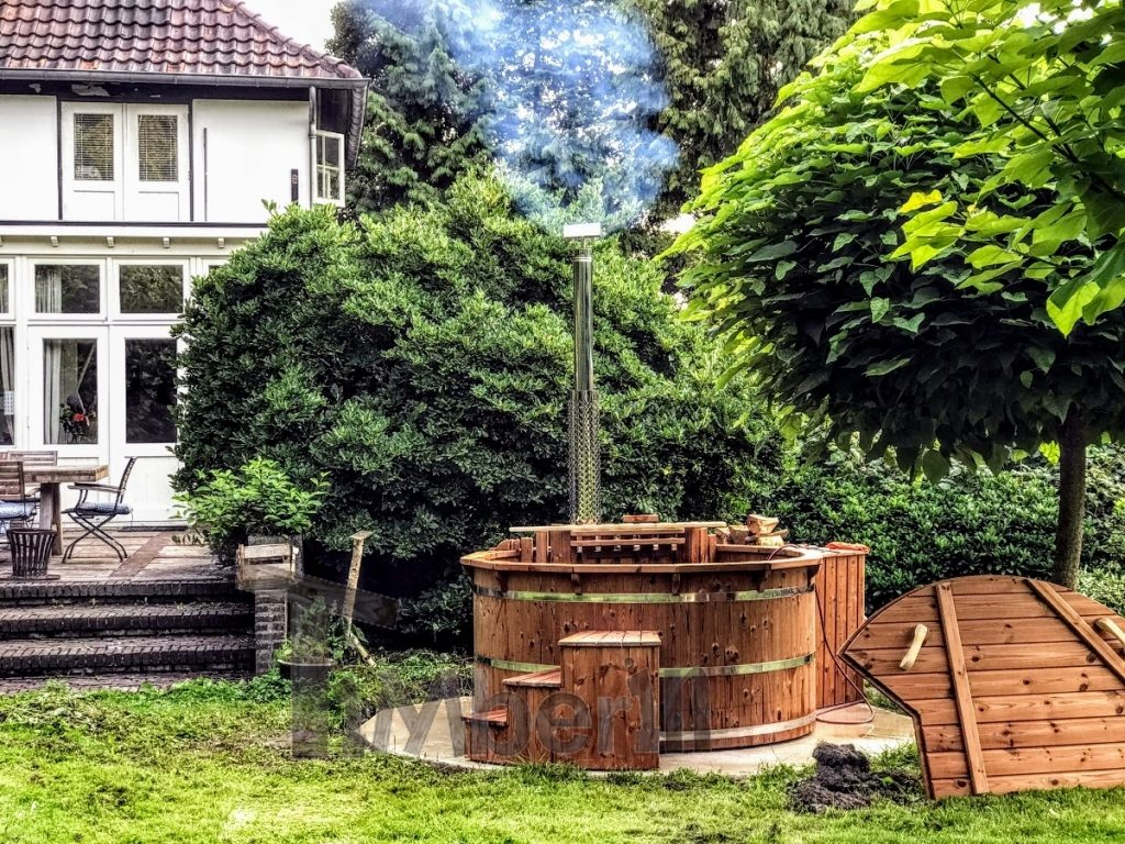 wooden outdoor hot tub project in Germany